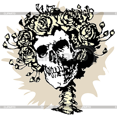 Skull and roses | Stock Vector Graphics |ID 3039507