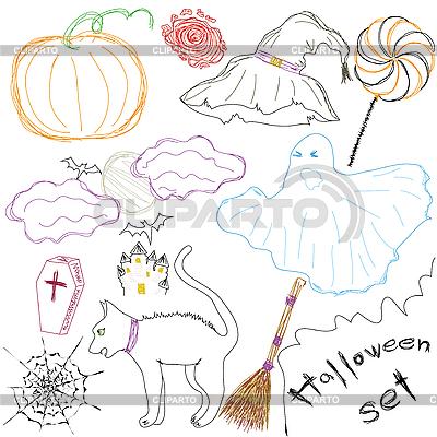 Set of Halloween sketches | Stock Vector Graphics |ID 3071687