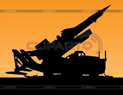 Sylwetka zachód od wyrzutni rakiet | Klipart wektorowy |ID 3018590