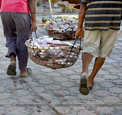 Fishermen with basket of fish | High resolution stock photo |ID 3014064