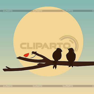 Птицы на ветке | Иллюстрация большого размера |ID 3018582