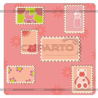 Rosige Karte mit Briefmarken | Illustration mit hoher Auflösung |ID 3018624