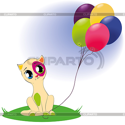Nette Katze mit Luftballoons | Illustration mit hoher Auflösung |ID 3018630
