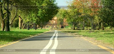 Droga rowerowa w jesiennym parku | Foto stockowe wysokiej rozdzielczości |ID 3065345