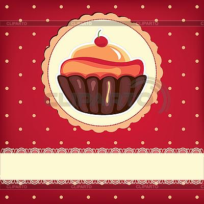 Słodkie retro karta z cupcake | Stockowa ilustracja wysokiej rozdzielczości |ID 3110604