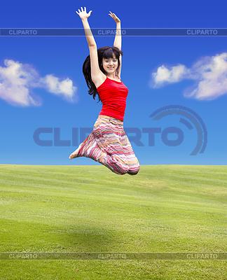 Junge Frau springt   Foto mit hoher Auflösung  ID 3278105