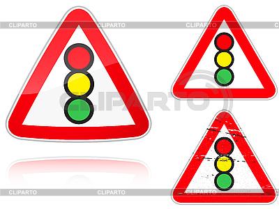 Warianty Traffic light control znak drogowy | Stockowa ilustracja wysokiej rozdzielczości |ID 3012760