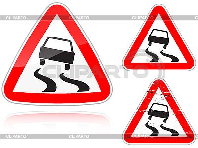 Warianty śliskiej drodze - znak drogowy | Klipart wektorowy |ID 3012819