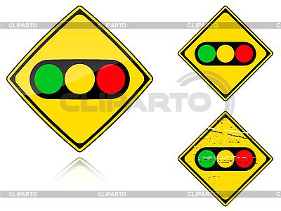 Warianty Sygnalizacja świetlna - znak drogowy | Klipart wektorowy |ID 3012839
