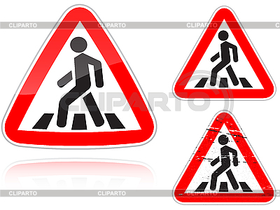 Unregulierter Fußgängerüberweg - Verkehrszeichen  | Stock Vektorgrafik |ID 3012845