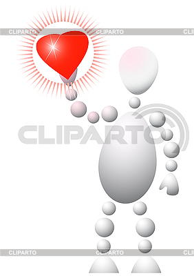 Man present red heart   Stock Vector Graphics  ID 3012877