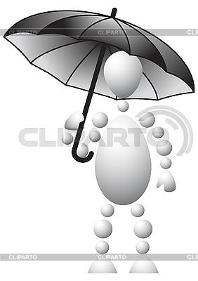 Man with black umbrella | Stock Vector Graphics |ID 3012921