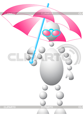 Man in pink sun-glasses with umbrella | Stock Vector Graphics |ID 3012961