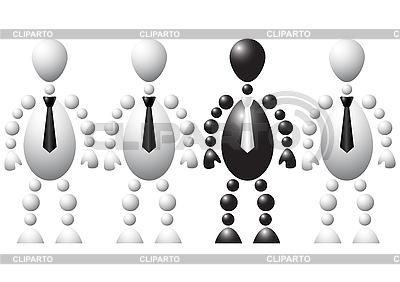 하나의 검은 남자와 세 백인 남자의 그룹 | 벡터 클립 아트 |ID 3012971