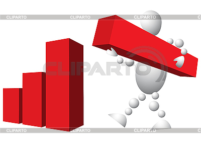 Man is building diagram from red blocks | Stock Vector Graphics |ID 3012979