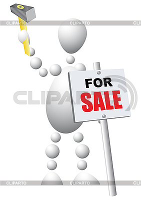 Man mounts sign announcing the sale of | Stock Vector Graphics |ID 3012983