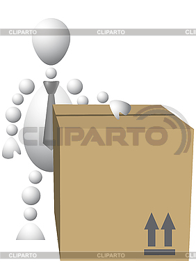 Man with brown cardboard box | Stock Vector Graphics |ID 3013027