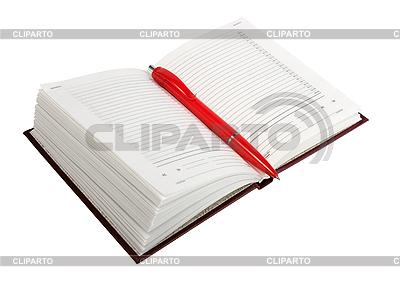 Pusty otwarty dziennik i czerwony długopis | Foto stockowe wysokiej rozdzielczości |ID 3032720