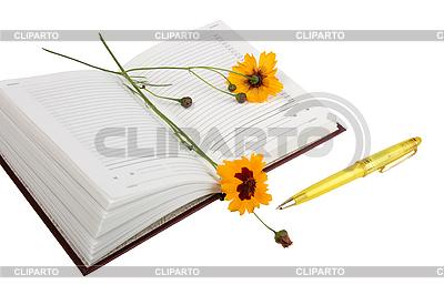 Tagebuch, gelbe Blüten und gelber Kugelschreiber | Foto mit hoher Auflösung |ID 3032721