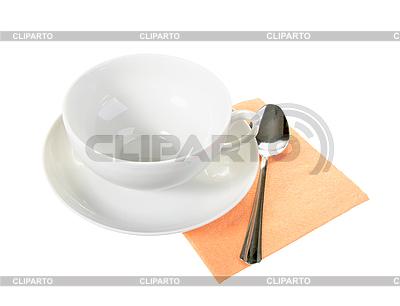 Biały pusty kubek i łyżka na serwetce pomarańczowy papieru | Foto stockowe wysokiej rozdzielczości |ID 3032821