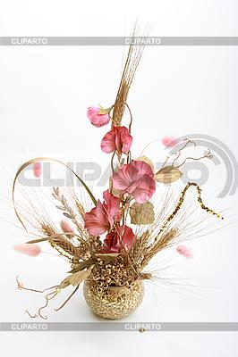Букет с розовыми цветами и пшеницей | Фото большого размера |ID 3032829