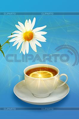 Zitronen-Tee und weiße Blume | Foto mit hoher Auflösung |ID 3032903