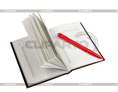 Leeres Tagebuch und roter Kugelschreiber | Foto mit hoher Auflösung |ID 3032919