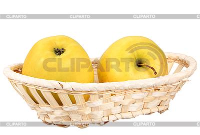 Zwei gelbe Äpfel im Korb | Foto mit hoher Auflösung |ID 3033048