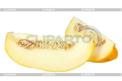 Two slices of ripe yellow melon | High resolution stock photo |ID 3033291