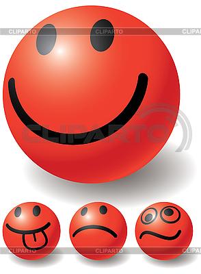 设置四个笑脸球 | 向量插图 |ID 3064109