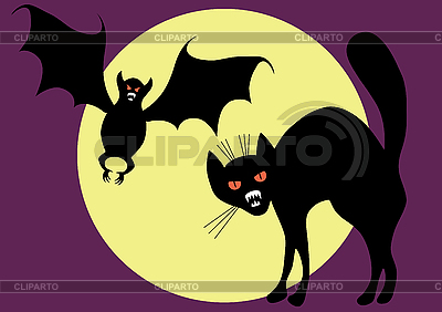 Bat and cat | Stock Vector Graphics |ID 3138154