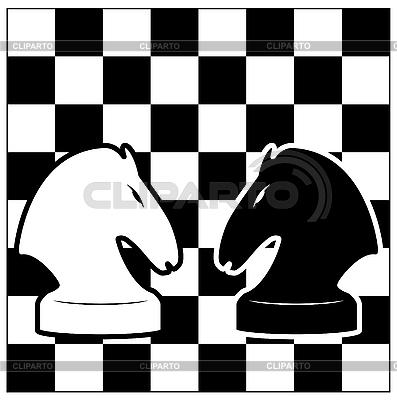 Schachbrett und zwei Pferde | Stock Vektorgrafik |ID 3138491