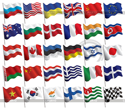 Set of waved flags | Stock Vector Graphics |ID 3157698