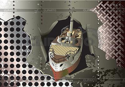 Stahl-Hintergrund mit alten Schlachtschiff | Stock Vektorgrafik |ID 3014908