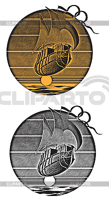 Flying ship and sunset engraving | Stock Vector Graphics |ID 3014914