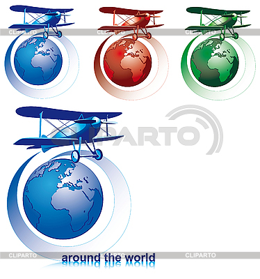 Around the world by biplane | Stock Vector Graphics |ID 3014936
