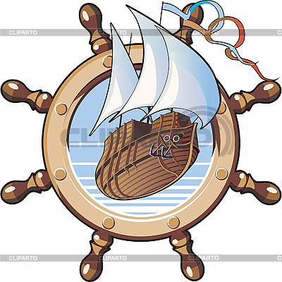Ship and wheel | Stock Vector Graphics |ID 3014962