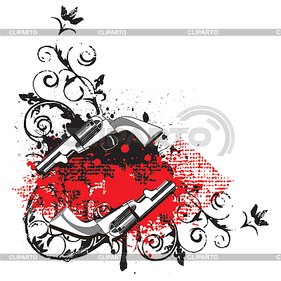 Vignette mit zwei Revolver | Stock Vektorgrafik |ID 3014992