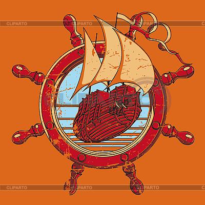 Vignette ze statku i koła | Klipart wektorowy |ID 3014994