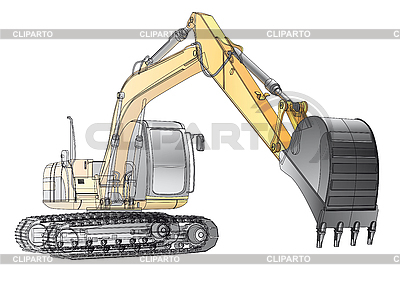 Crawler excavator wireframe | Stock Vector Graphics |ID 3015145