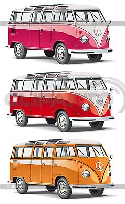 Старомодный европейской микроавтобус | Векторный клипарт |ID 3015191