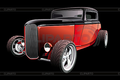 Red hot rod on black | Stock Vector Graphics |ID 3026766