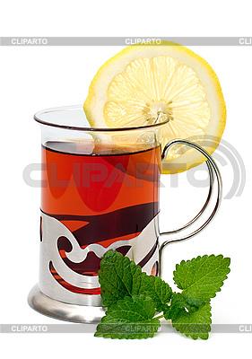 Tea in glass holder and lemon balm | High resolution stock photo |ID 3013757