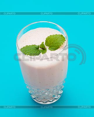 Strawberry milkshake on blue | High resolution stock photo |ID 3013759