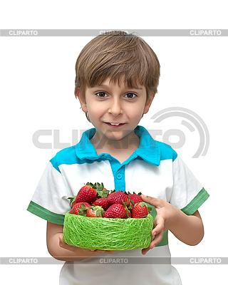 Knabe mit Erdbeeren | Foto mit hoher Auflösung |ID 3013835