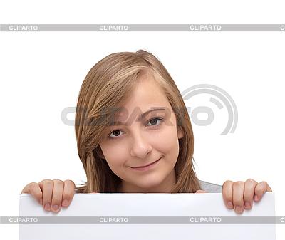 美丽的姑娘肖像,拿着海报文字 | 高分辨率照片 |ID 3013987
