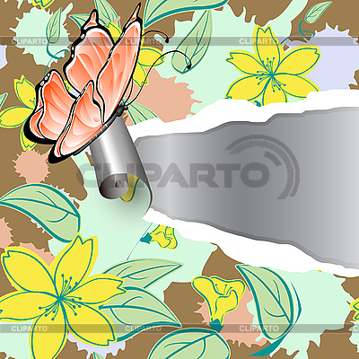 The torn paper with floral pattern | Stock Vector Graphics |ID 3014123