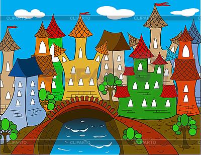 Stadt mit Häuser Cartoon | Stock Vektorgrafik |ID 3014161