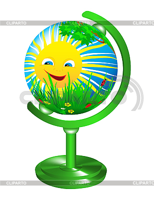 Globe with the image of the summer landscape.    Stock Vector Graphics  ID 3014297