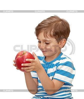 Junge mit großem roten Apfel | Foto mit hoher Auflösung |ID 3014398